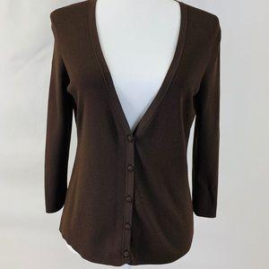 Ann Taylor Loft Chocolate Cardigan, Size Medium
